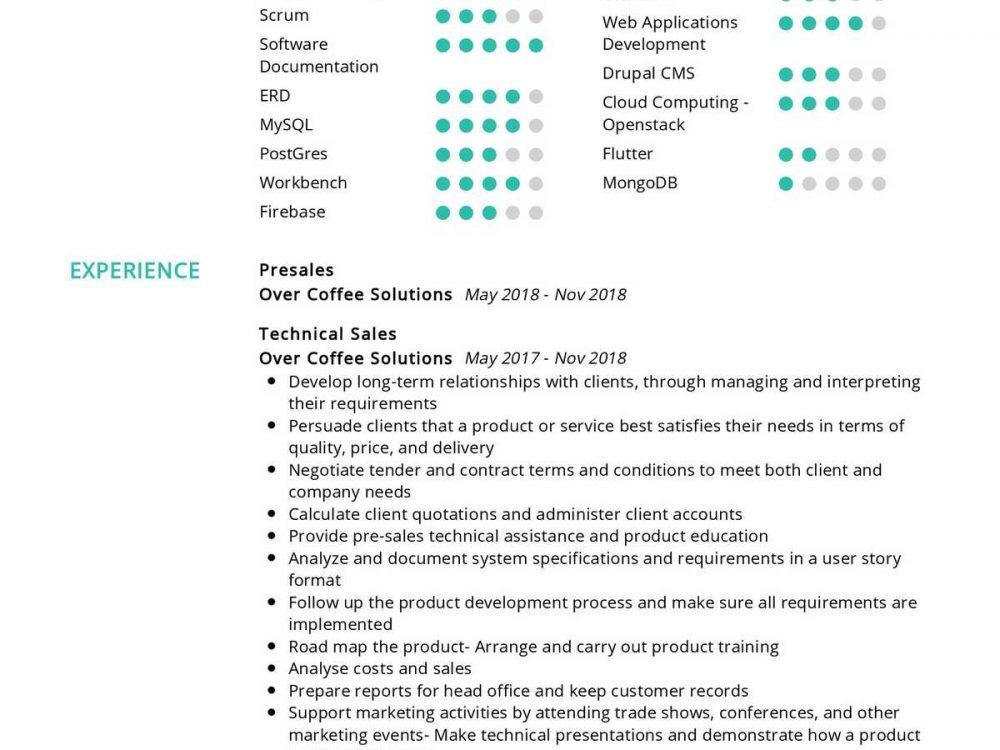Presales Resume Sample