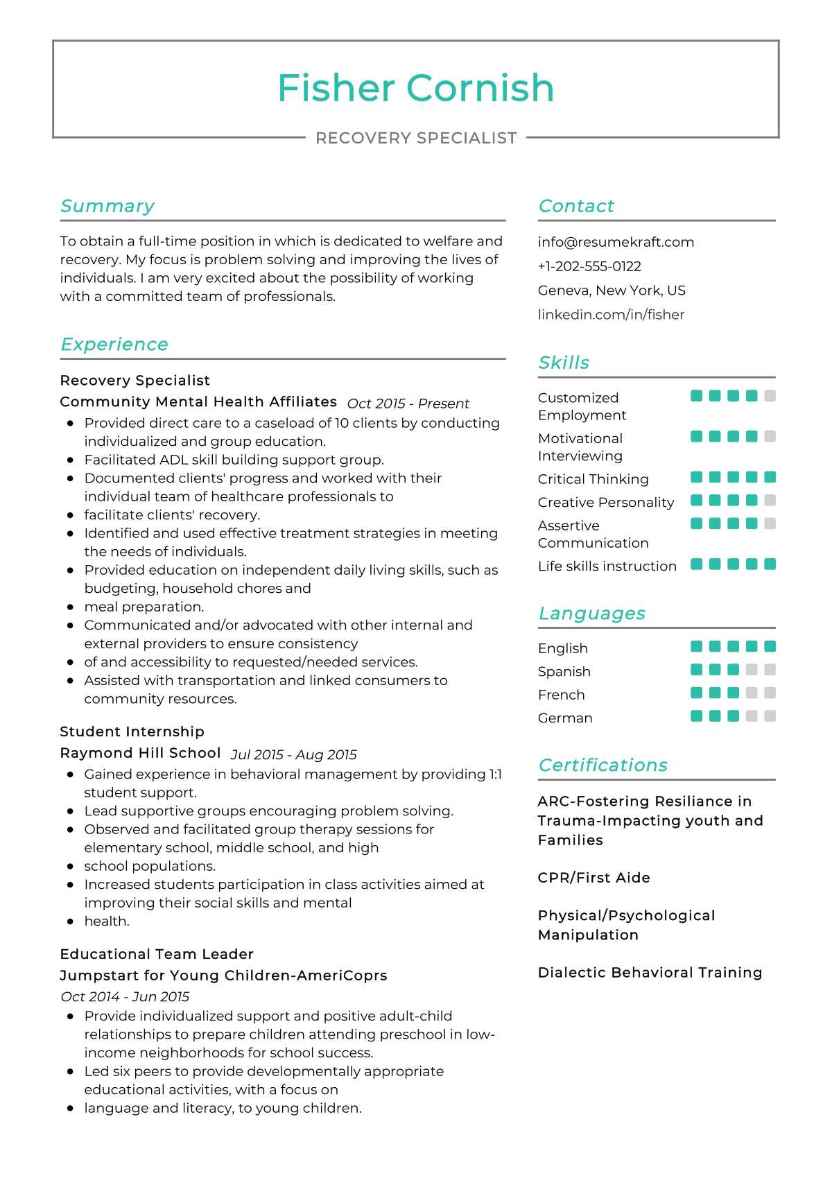 Recovery Specialist Resume