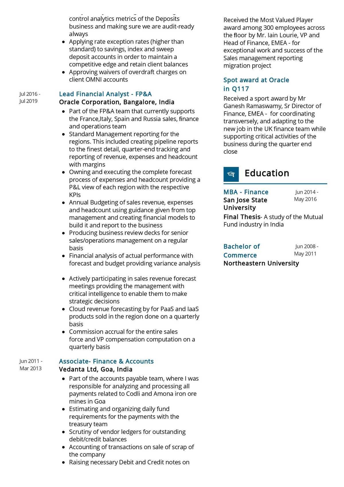 senior analyst resume sample  resumekraft