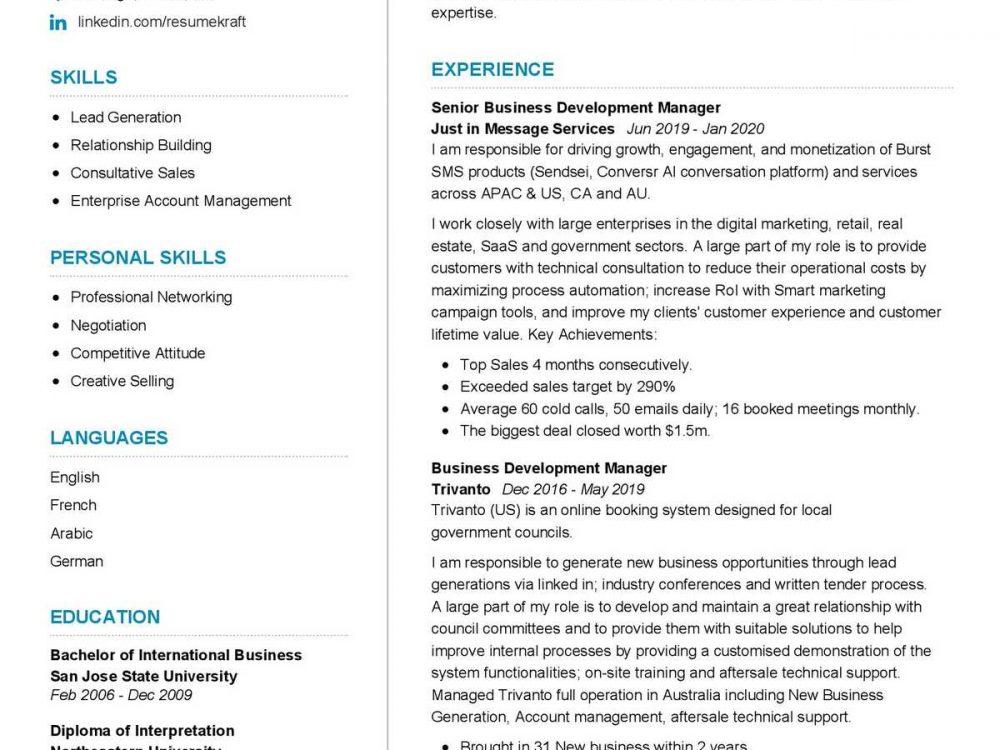 Senior Business Development Manager Resume