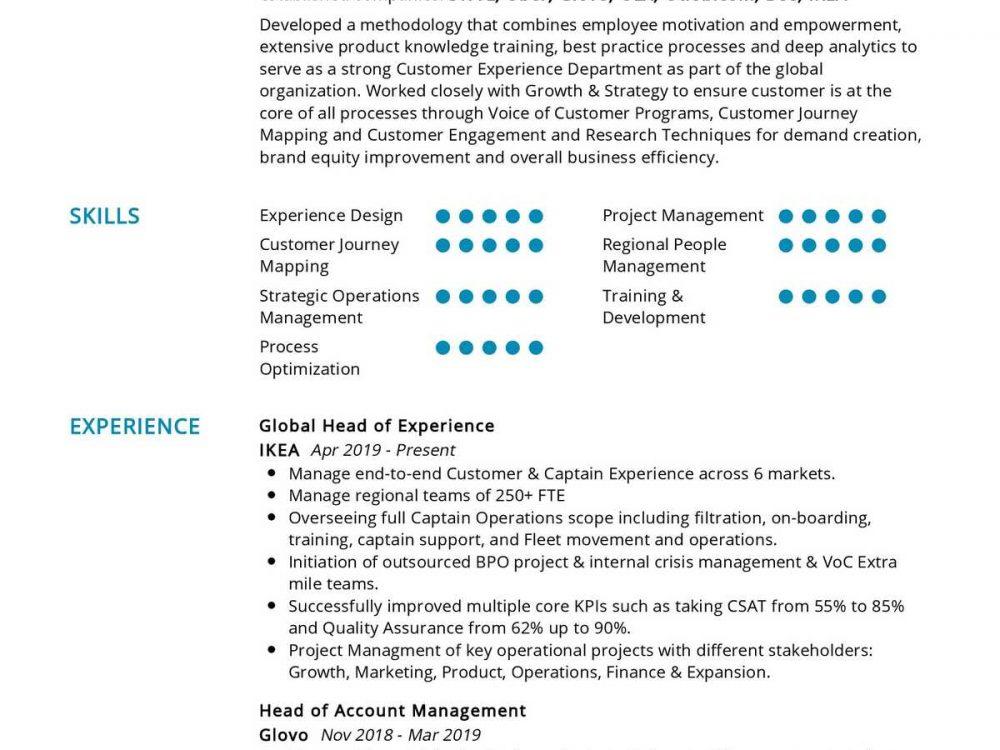 Senior Customer Experience Resume Sample