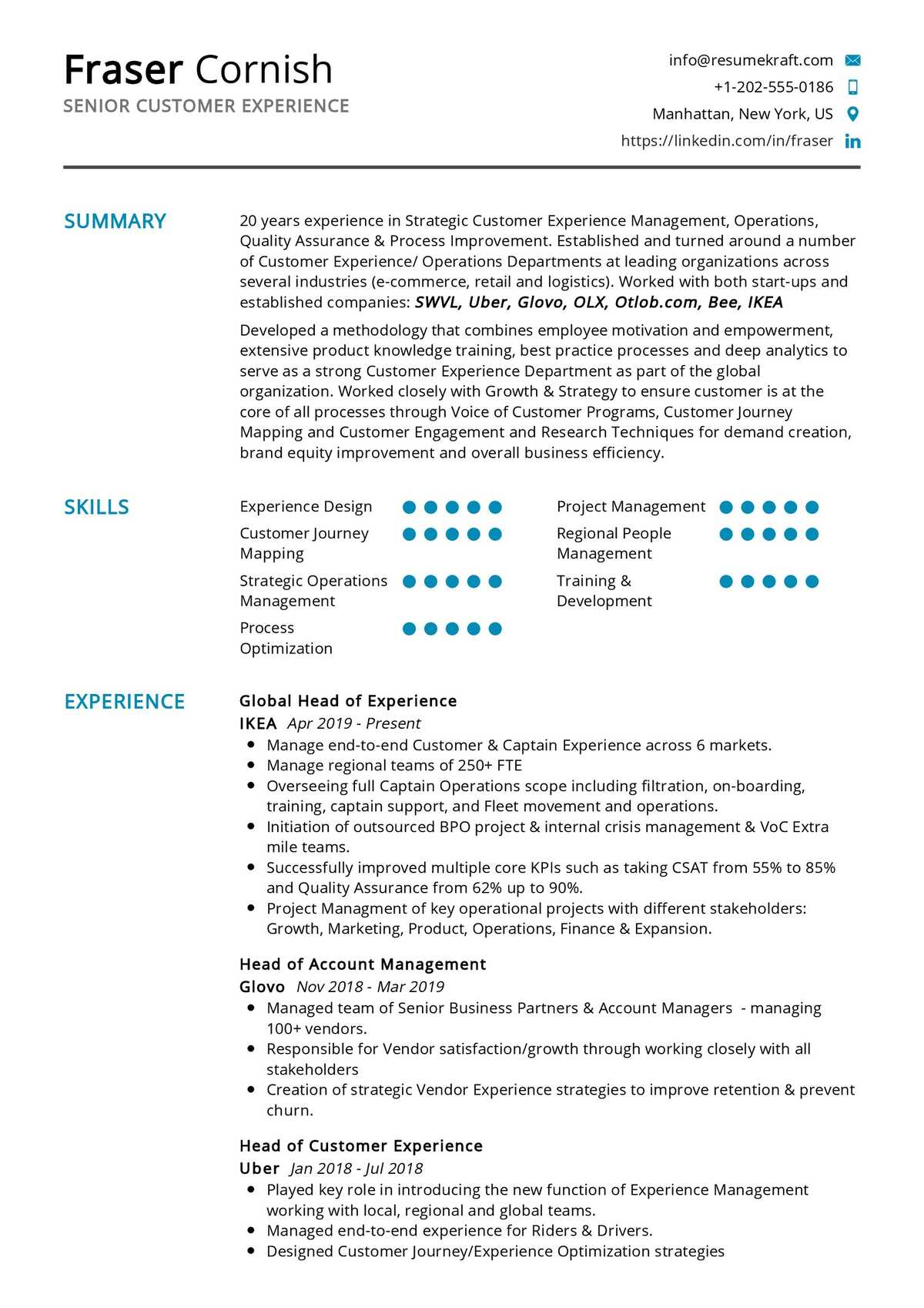 Senior Customer Experience Resume Sample