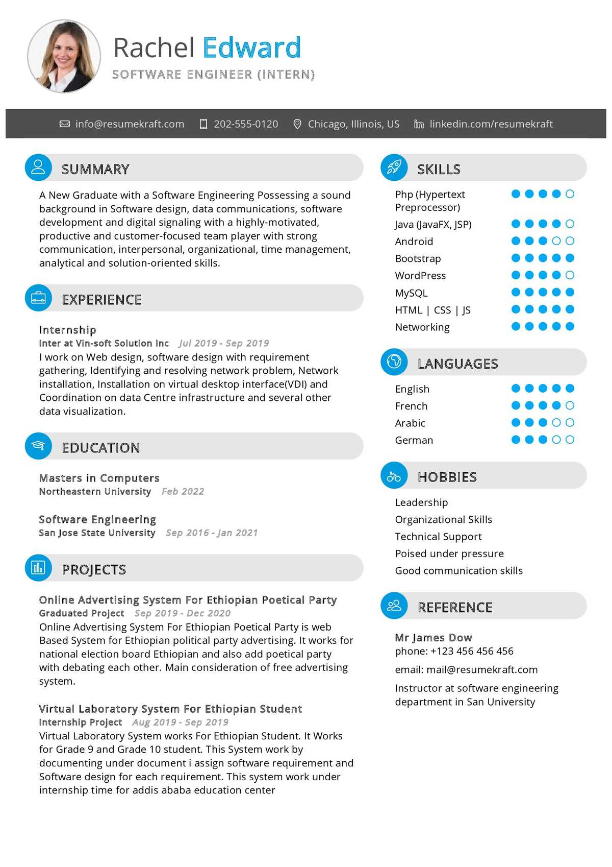 Software Engineering Internship Resume - ResumeKraft