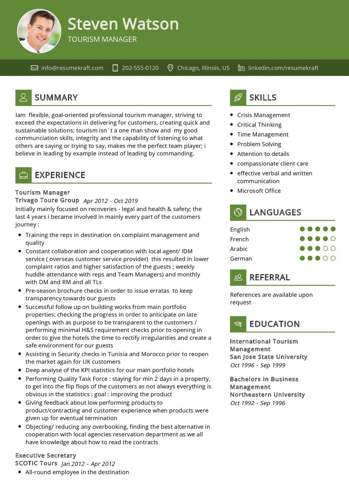 Tourism Manager Resume Sample