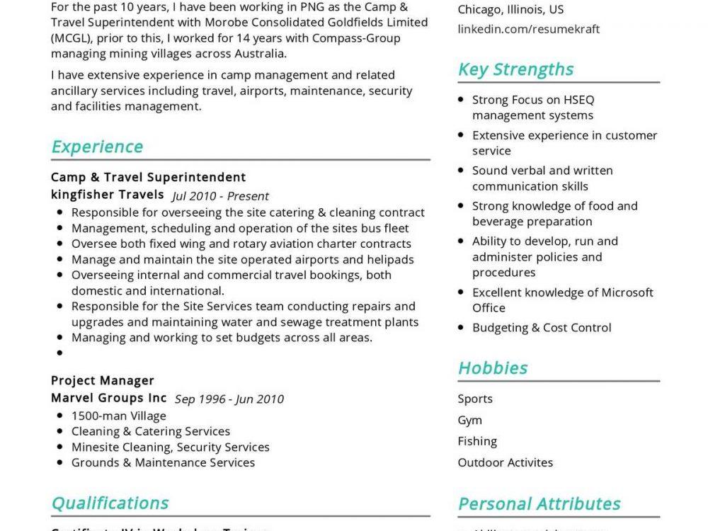 Travel Superintendent Resume