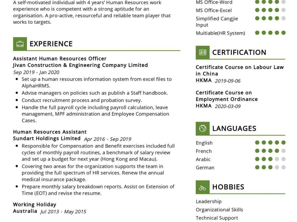 Assistant Human Resources Resume
