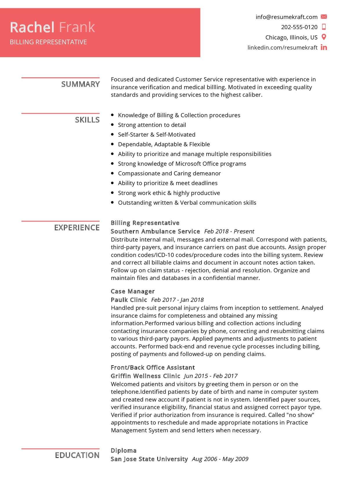 Billing Representative Resume Sample