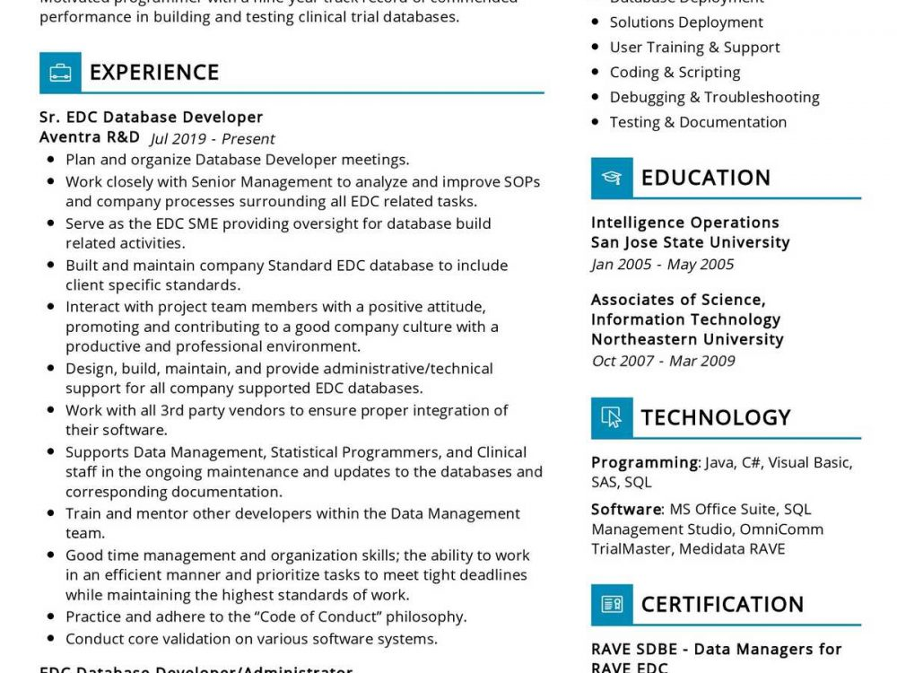 EDC Database Developer Resume Sample
