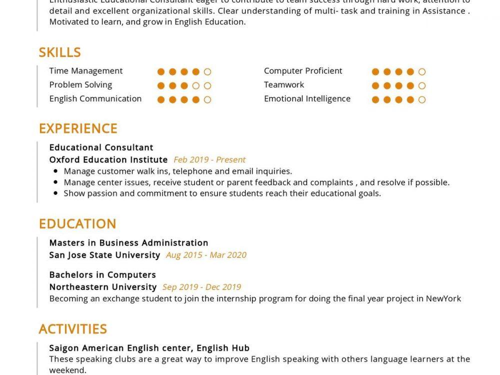 Educational Consultant Resume
