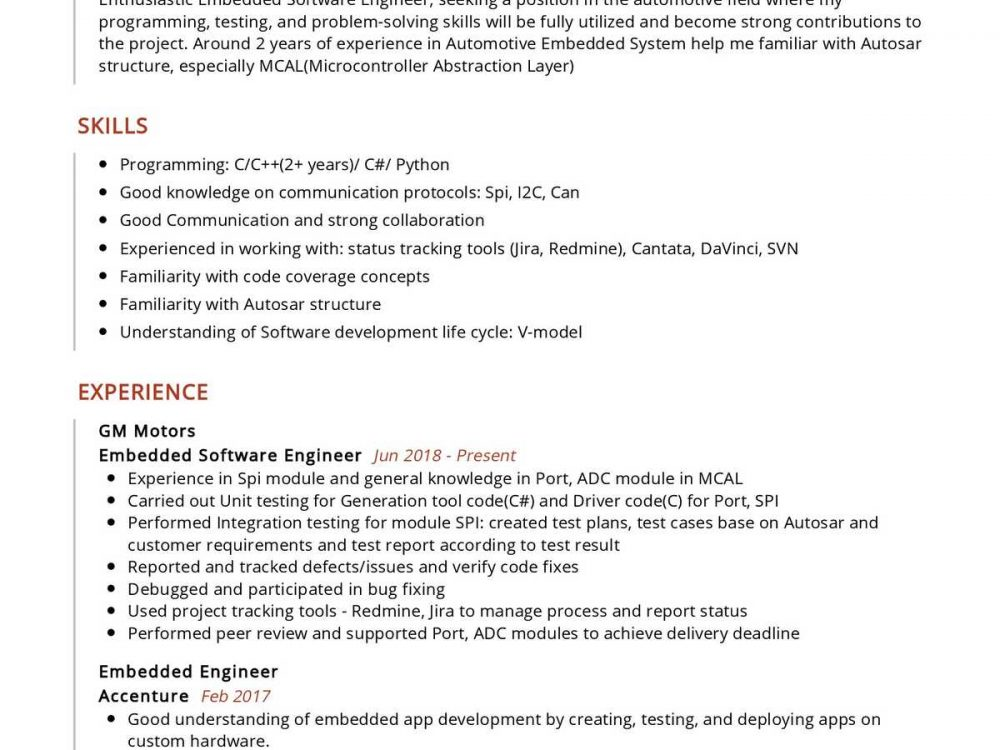 Embedded Software Engineer Resume