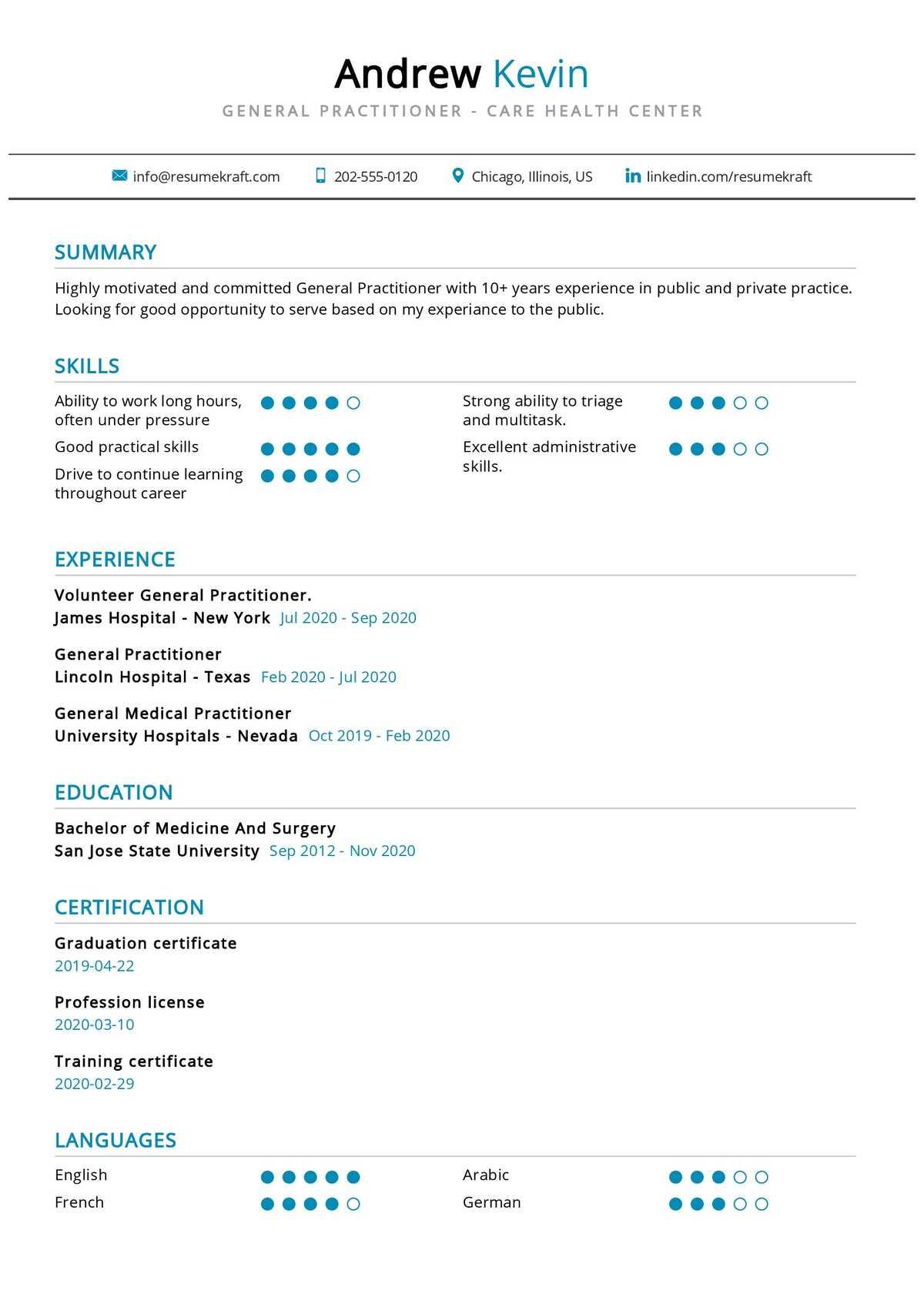 General Practitioner Resume Sample