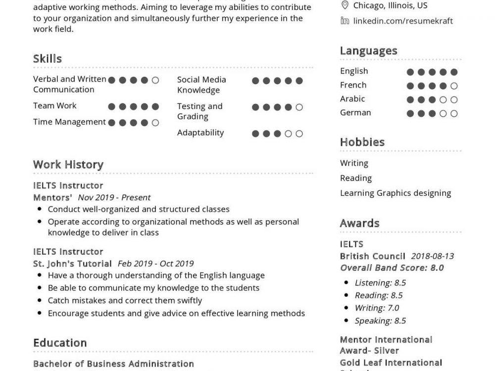 IELTS Instructor Resume