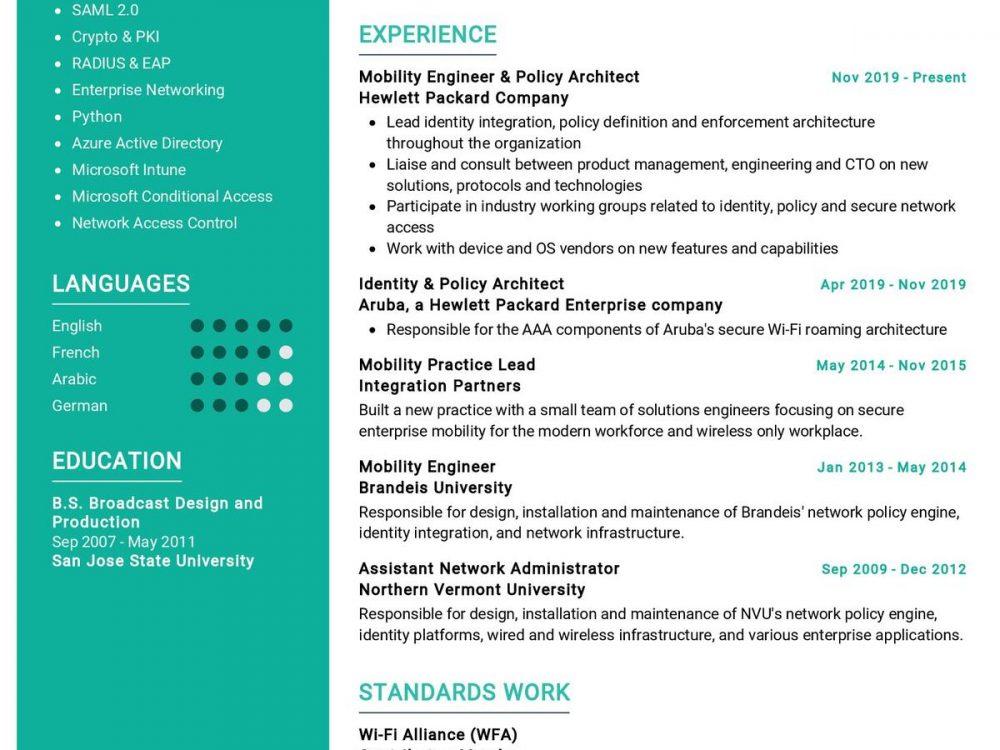 Mobility Engineer Resume Sample