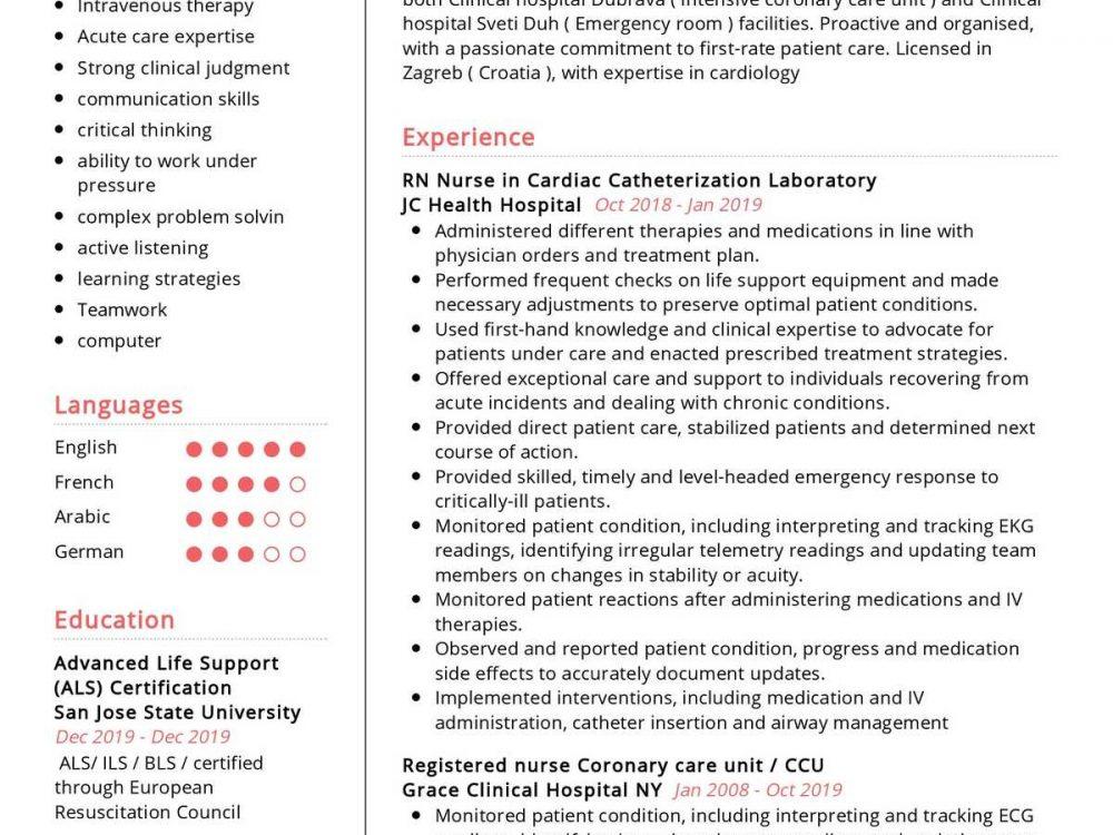san jose nurse resume