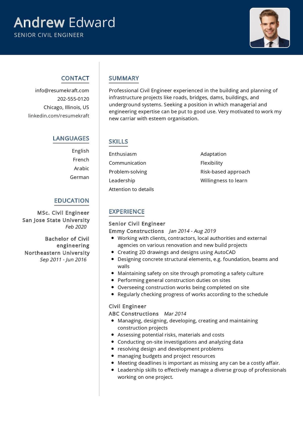 Senior Civil Engineer Resume