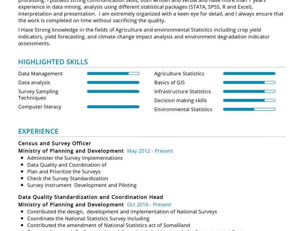 Survey Officer Resume Sample