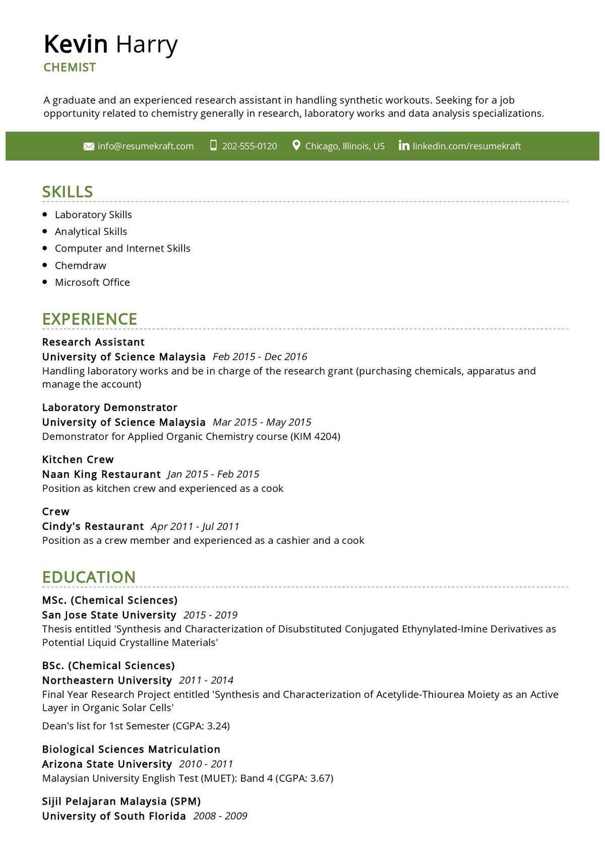 Chemist Resume Example