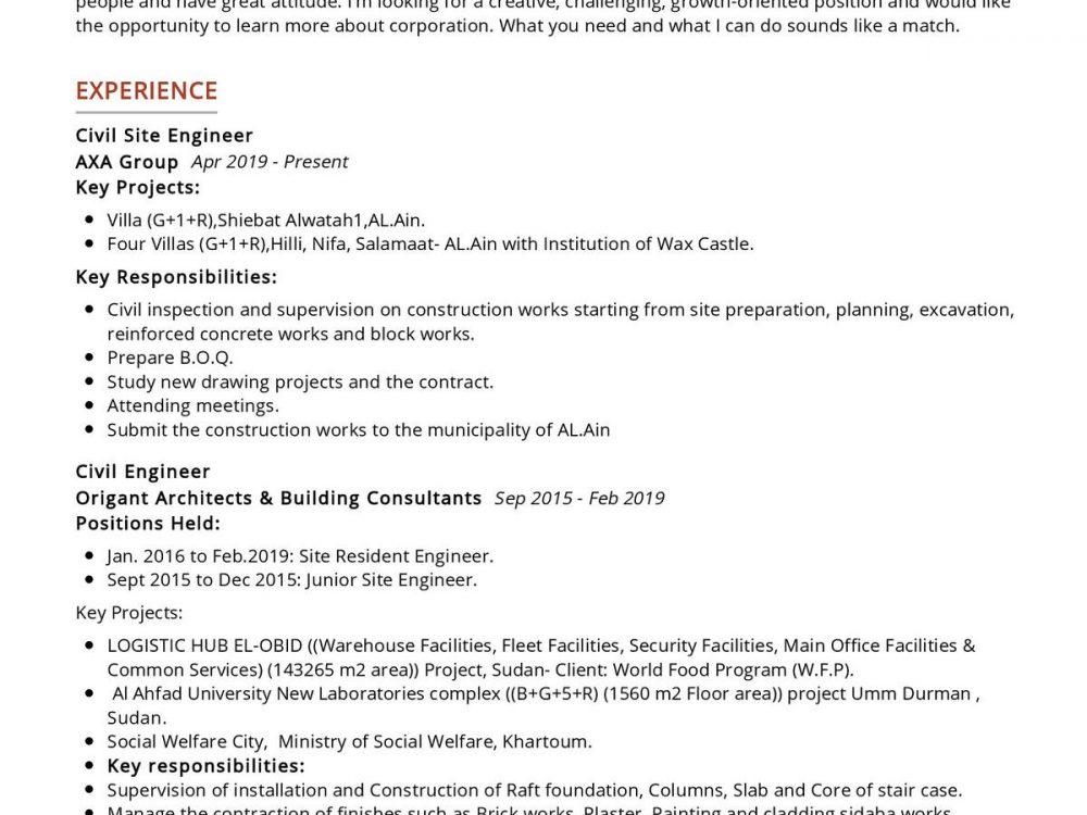 Civil Site Engineer Resume