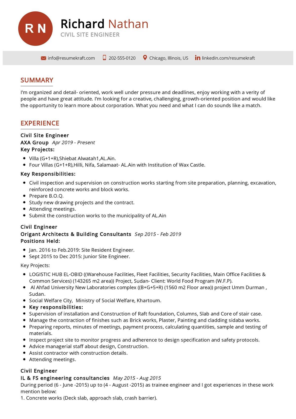 civil site engineer resume sample 2021  writing tips