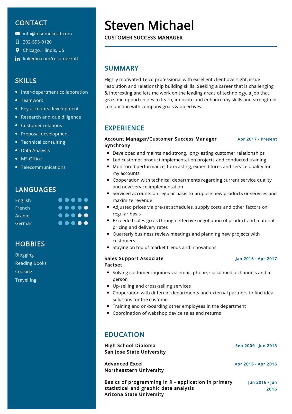 Customer Success Manager Resume