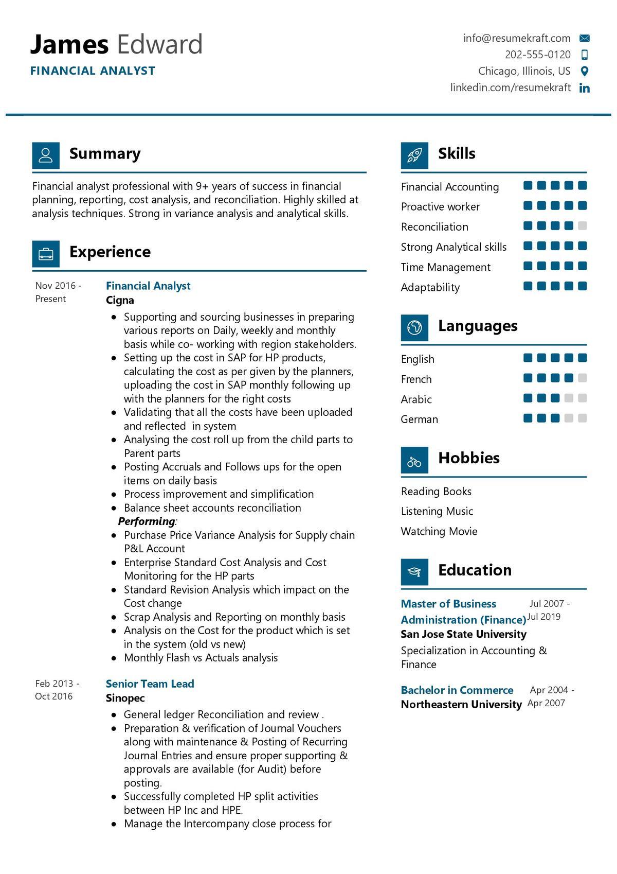 financial analyst resume sample  resumekraft
