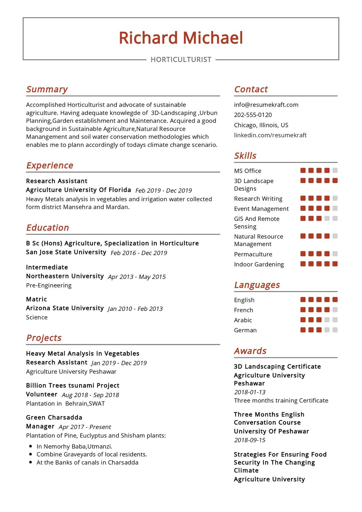 Horticulturist Resume Sample