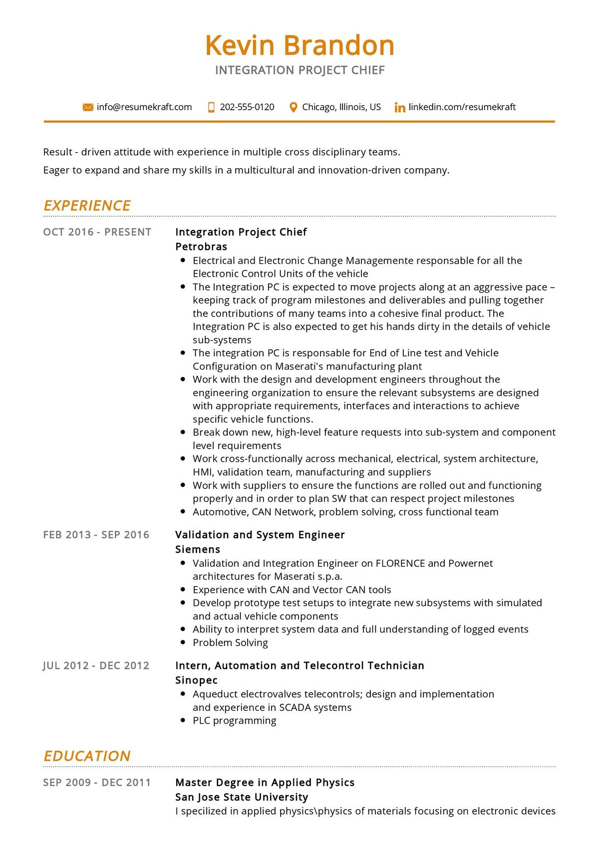 Integration Project Chief Resume