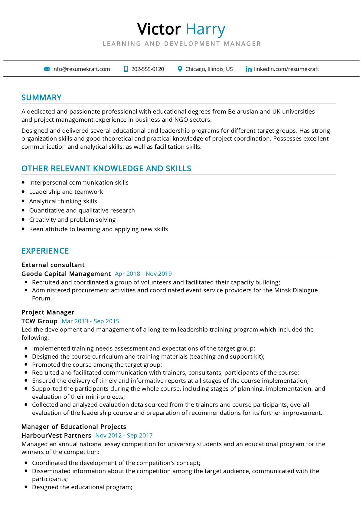 Learning and Development Manager Resume