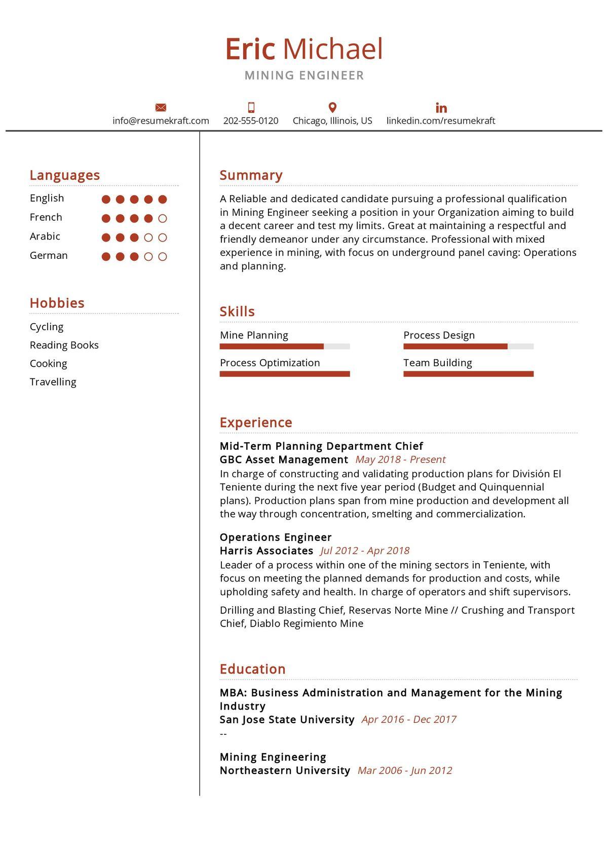 Mining Engineer Resume