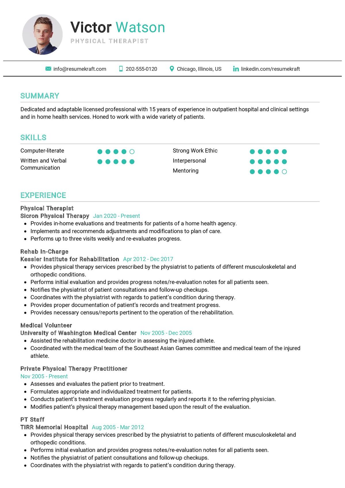 Physical Therapist Resume