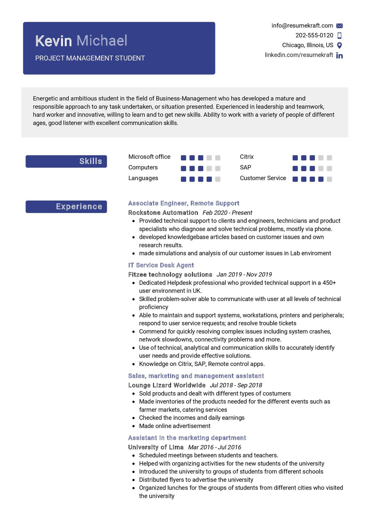 Project Management Student Resume