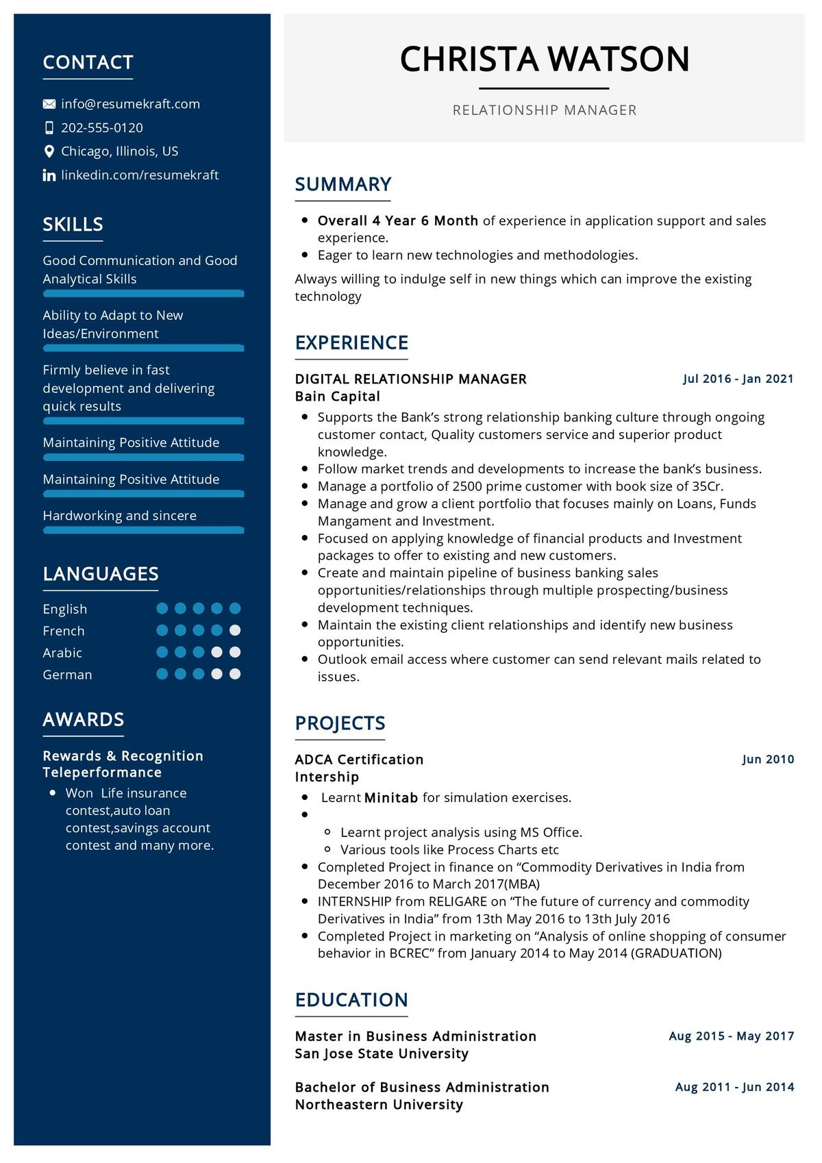 Relationship Manager Resume