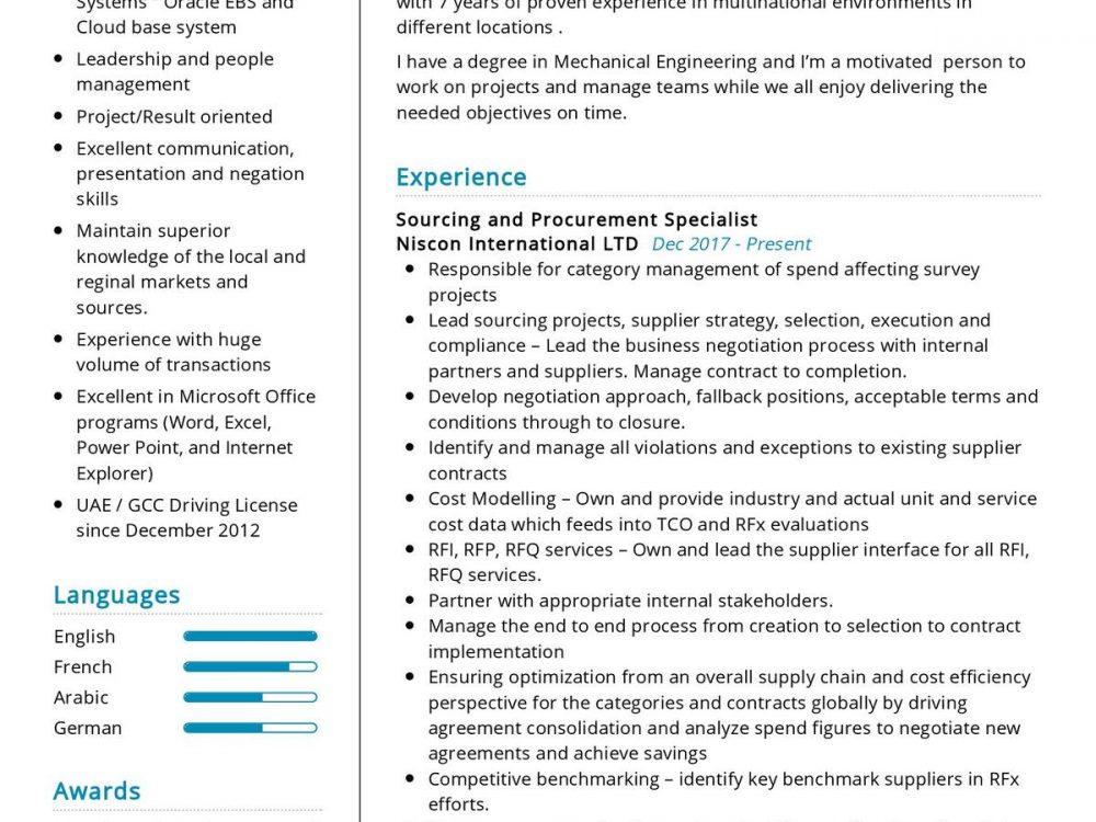 Senior Procurement Specialist Resume Sample