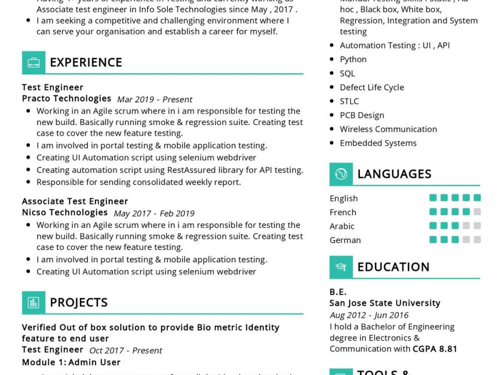 Software Tester Resume Example