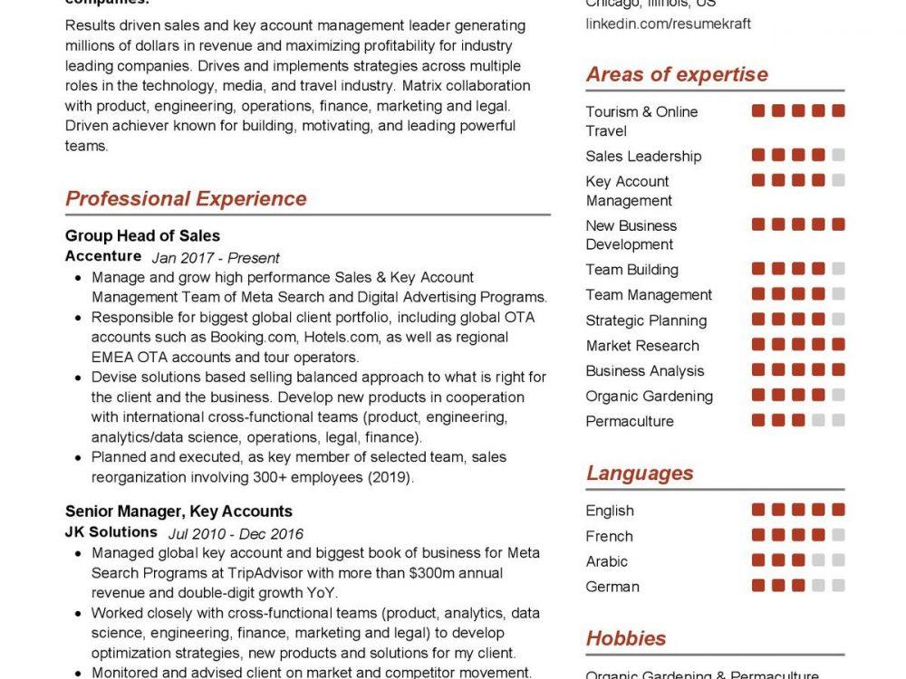 Head of Sales Resume