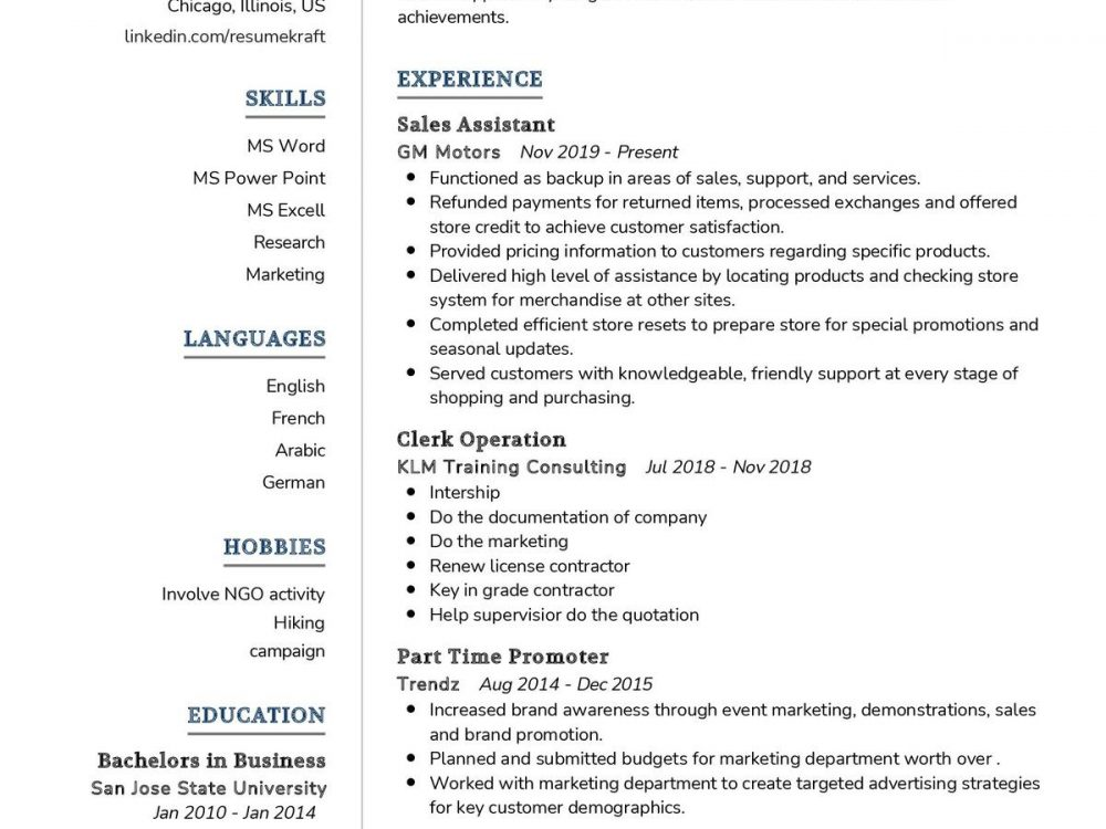 Junior Sales Assistant Resume