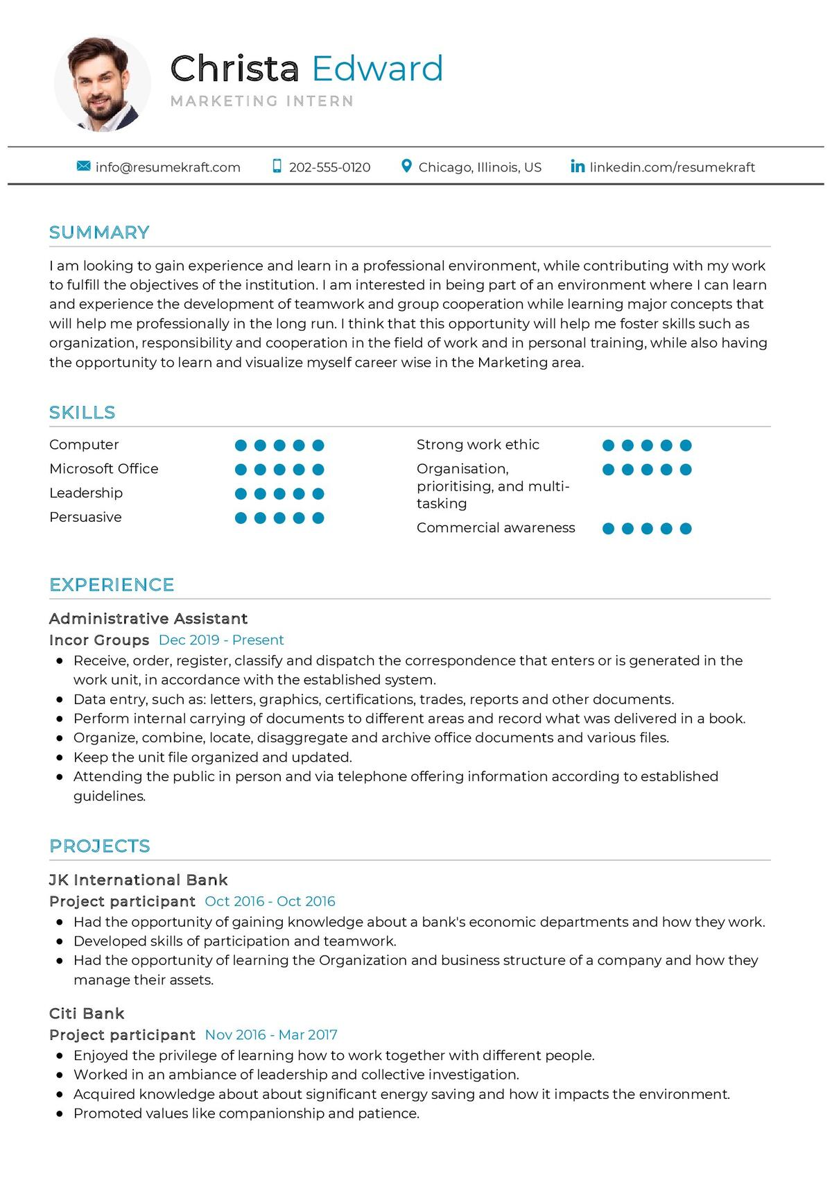 Marketing Intern Resume Sample 2