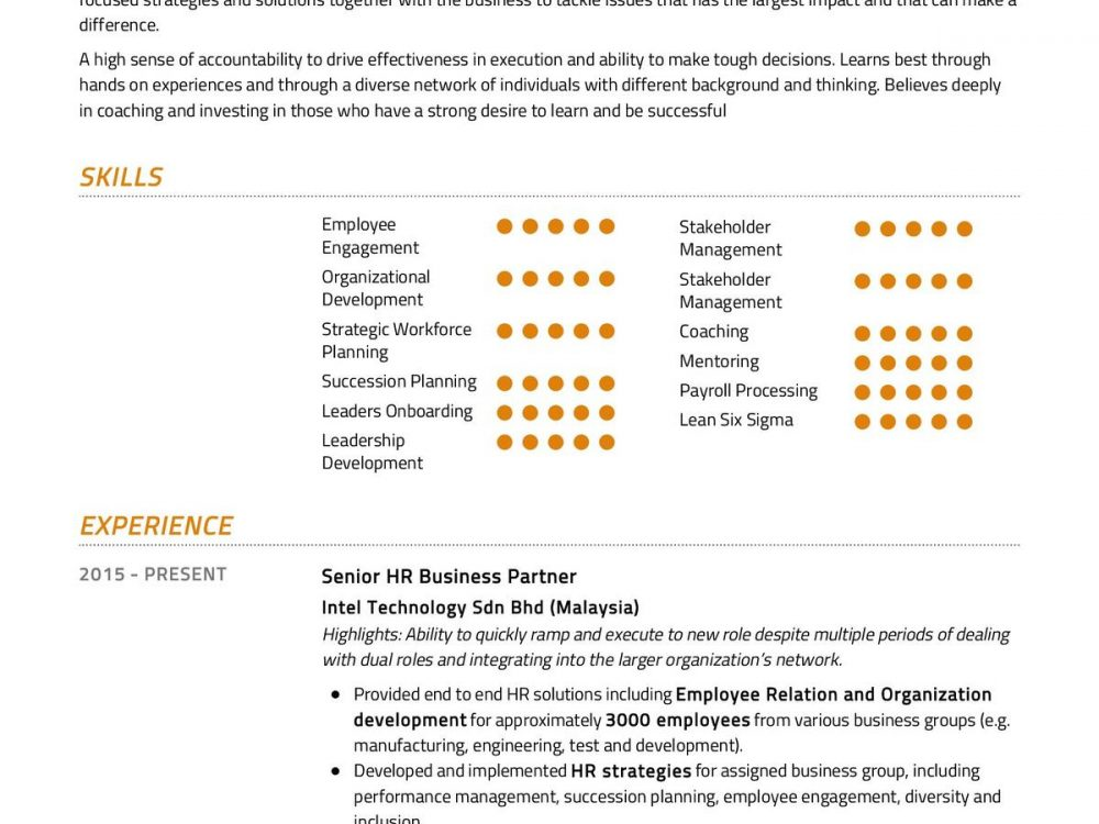 Senior HR Business Partner Resume