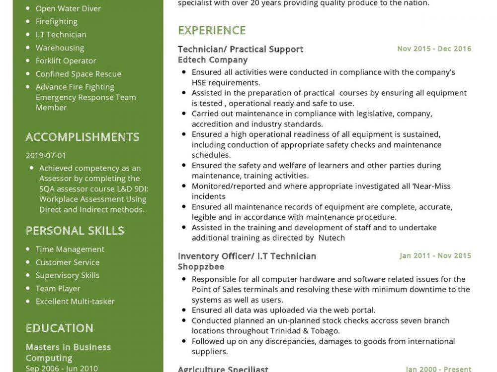 Training Instructor Resume Sample