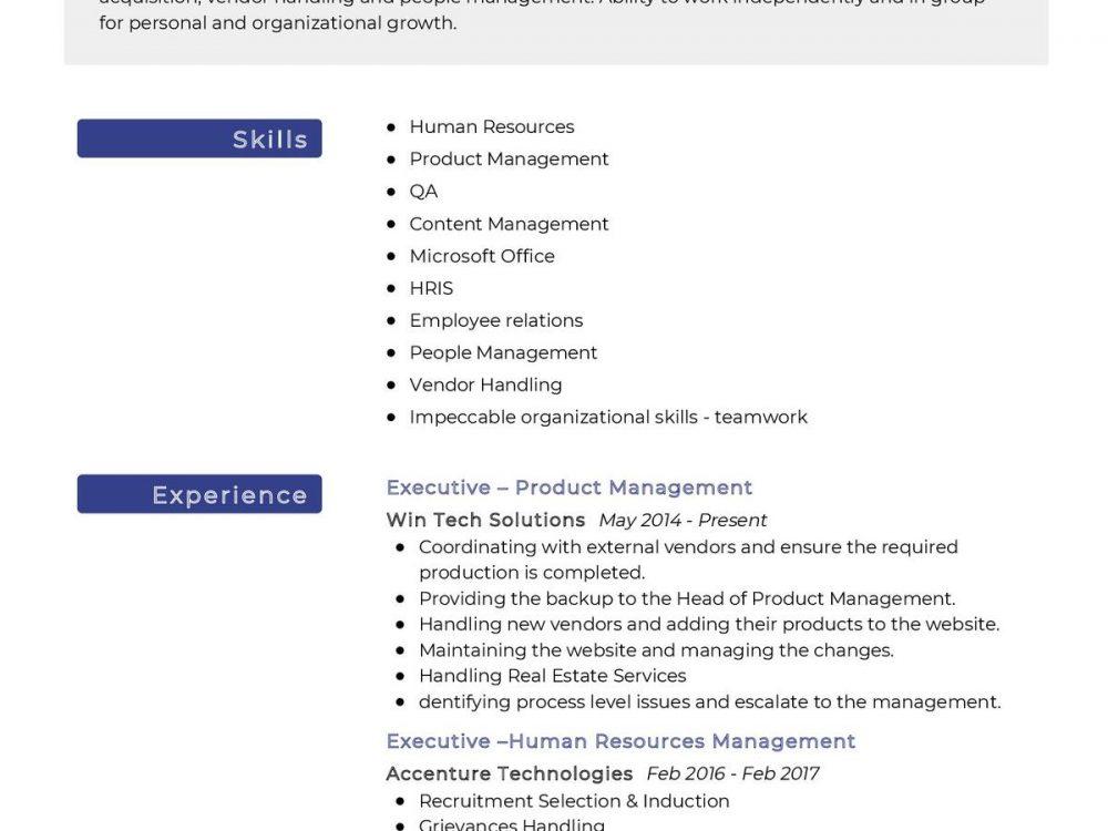 Executive Human Resources Management Resume