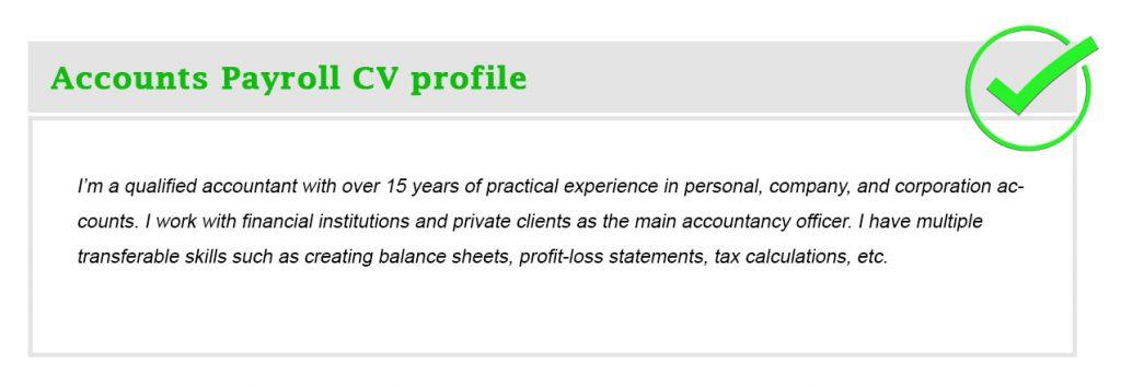Accounts Payroll CV profile