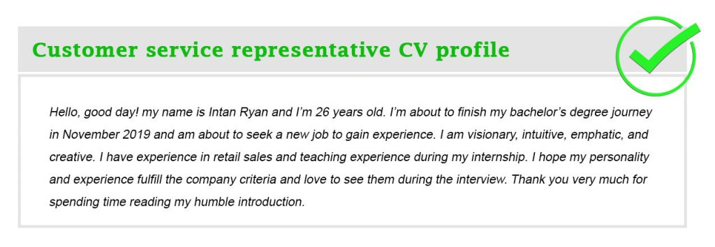 Customer service representative CV profile