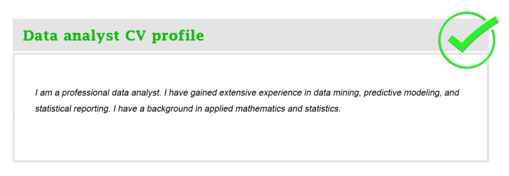 Data analyst CV profile