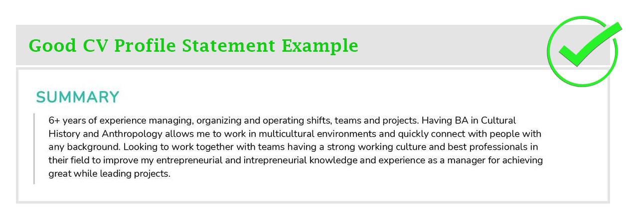 Good-CV-Profile-Statement