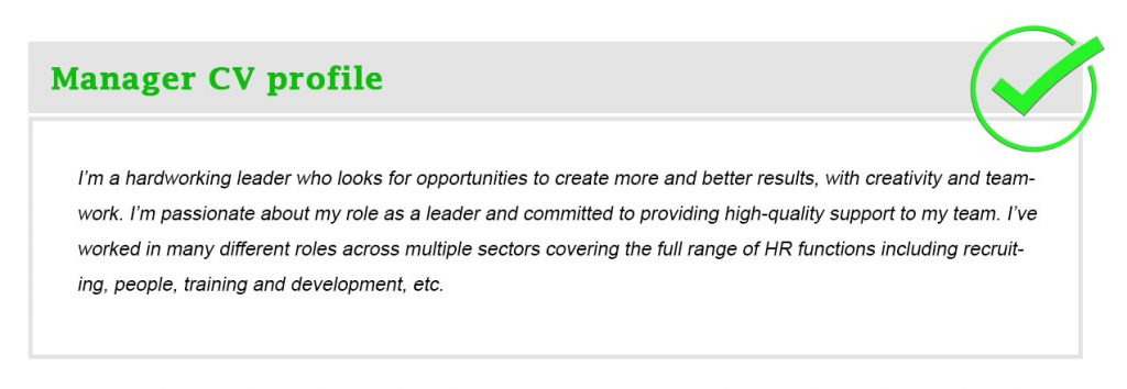 Manager CV profile