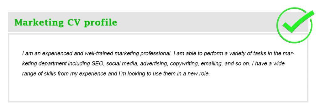 Marketing CV profile