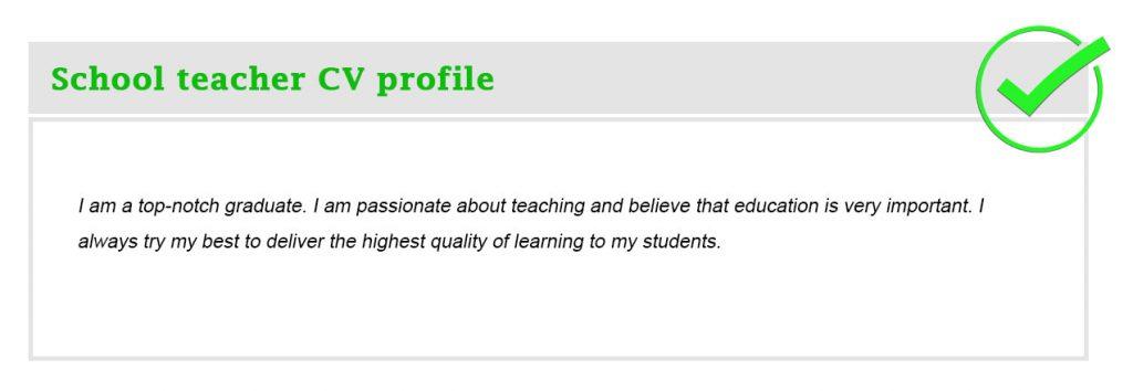 School teacher CV profile