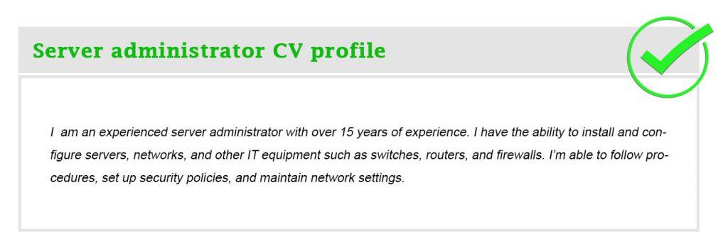 Server administrator CV profile