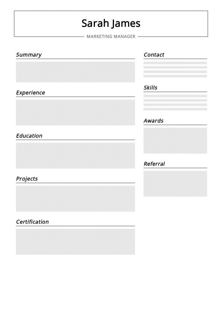blank cv format download