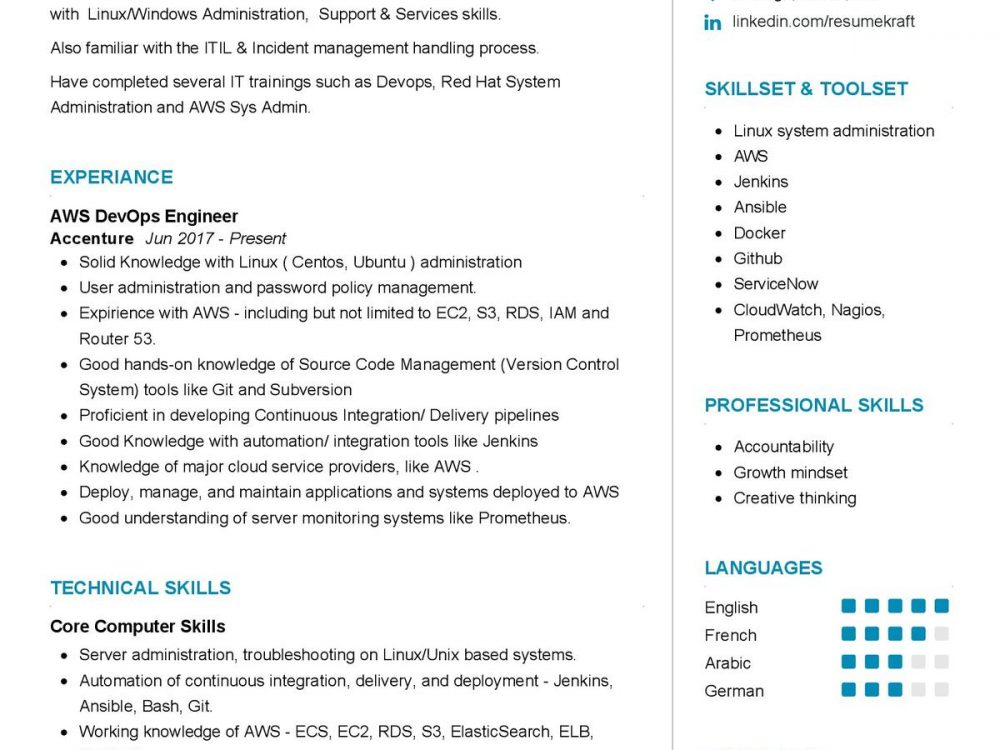 AWS DevOps Engineer CV Sample